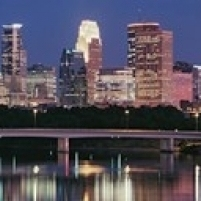 Buildings lit up at night in a city  Minneapolis  Mississippi River  Hennepin County  Minnesota  USA Poster (18 x 7)