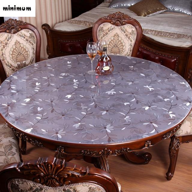 imperméable table ronde chiffon doux verre pvc transparent en