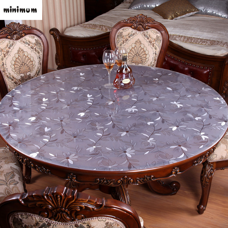 Waterproof Round Table Cloth Soft Glass PVC Transparent
