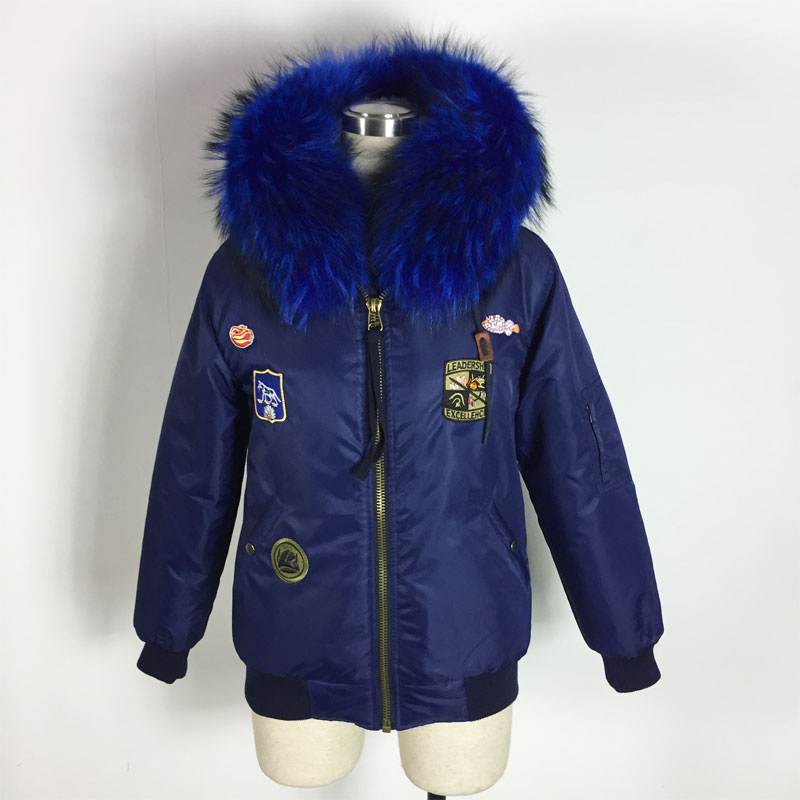 Spring and Winter Thick Warming Fur Faux Fur Inside Bomber Jacket Big Raccoon Collar Bombers 3 Color