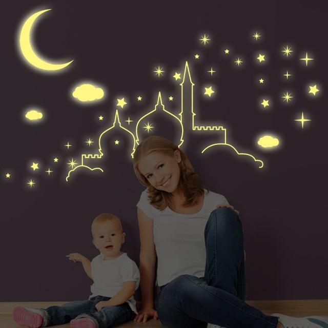 Fluorescent Stars Islamic Architecture Castle Moon Clouds Wall Stickers Luminous Stars Cartoon Kids Room Nursery Mural