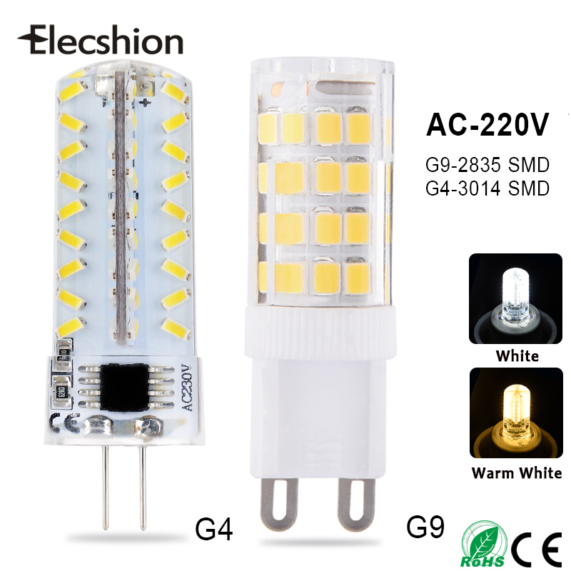 G4 G9 LED SMD3014 Lamps AC220V 2W 3W 4W Corn Light Bulb 24 32 48 64 72 104 LEDs Droplight Chandelier 360 degree beam Spotlight g9 10w 152 smd 3014 1050lm dimmable led corn bulb ac 220 240v