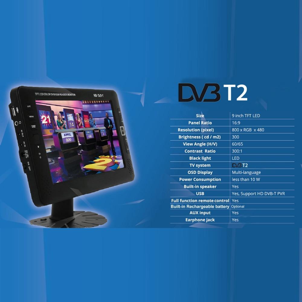 9inch Portable Car TV Television DVB-T2 digital Car TV Receiver AV USB MP3 MP4 TV Program Recording 4