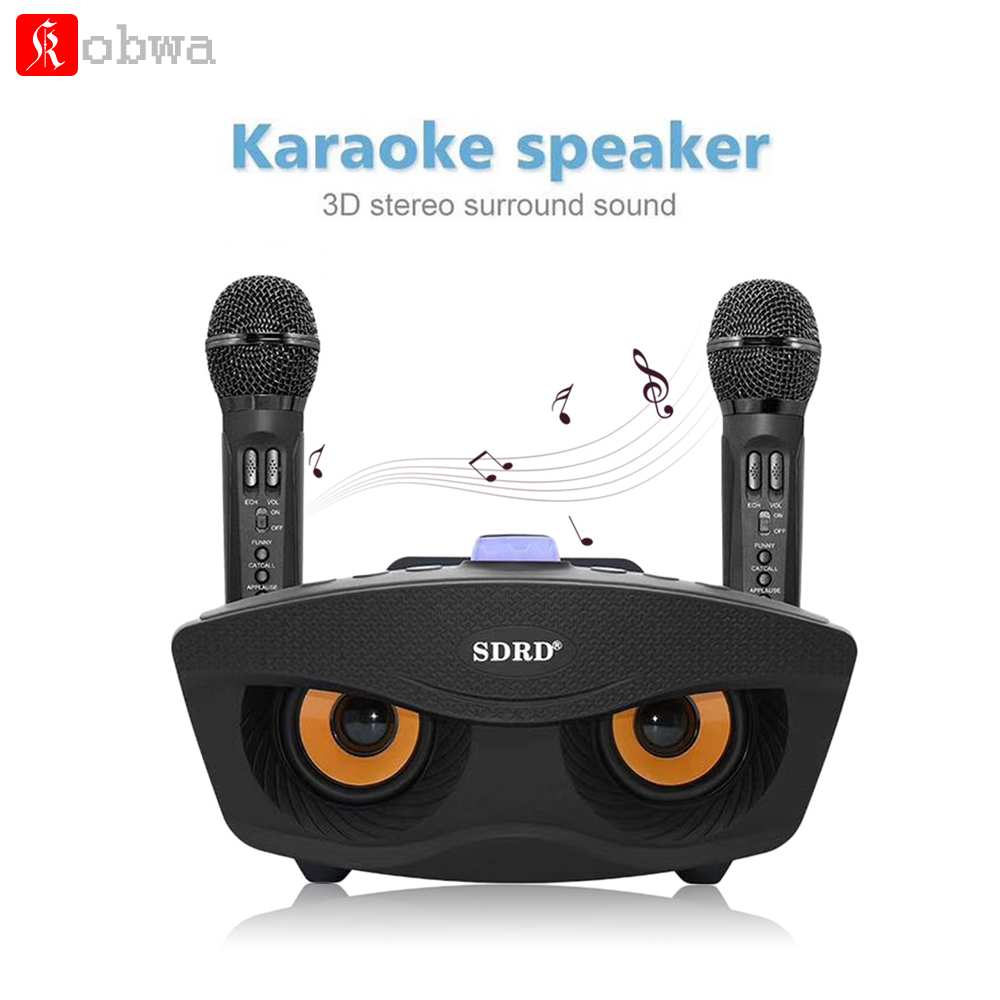 Home Karaoke Machine With Bluetooth Wireless Double Microphone Party KTV Systems for iPhone Support TF Card AUX FM U Disk b 370 bluetooth v3 0 headband earphone w microphone tf fm for iphone black red