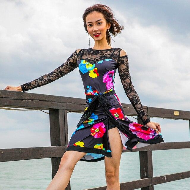 Nuevo vestido de baile latino estampado para mujeres vestido de competición  Samba trajes de baile ropa e52882873bd