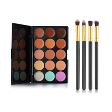 15 Color Concealer Palette + 4 Pieces Black Handle Brushes Makeup Base Foundation Concealers Face Powder