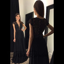 New Black Long Evening Dress 2018 V-Neck Short Sleeves Floor Length A-Line Lace Chiffon Prom Dresses Robe de soriee Vestidos(China)