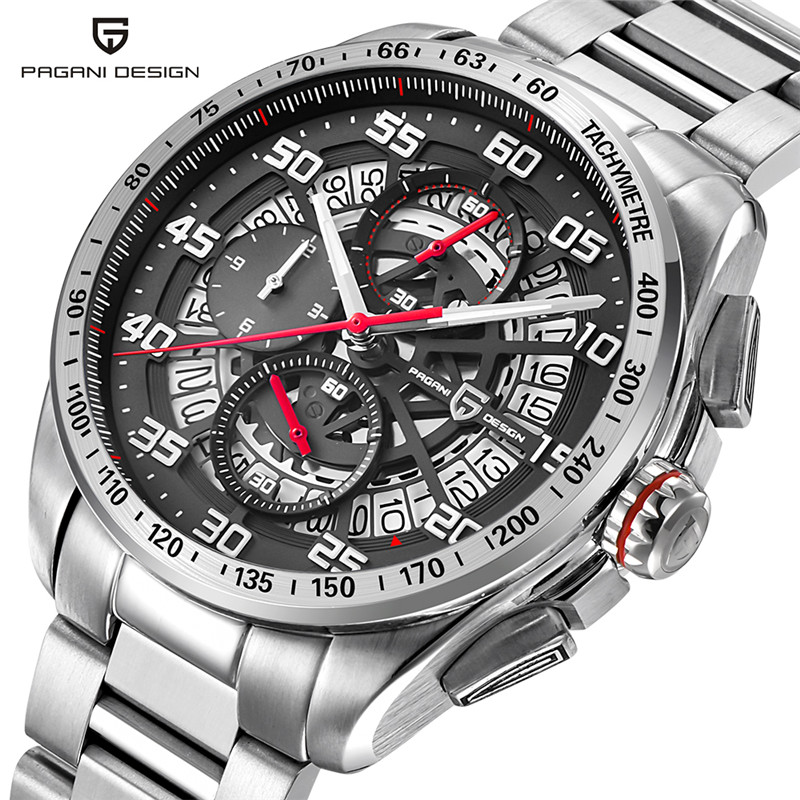 PAGANI DESIGN Chronograph Watch Men Cool Stainless Steel Genuine Leather Strap Fashion Army Quartz Date Men