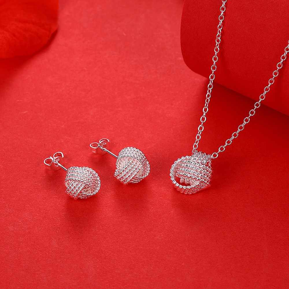 Hot Sale Wholesale Fashion Jewelry Set 925 stamp silver plated Rose Ball Slide Necklaces & Earrings Valentine's Day Gifts Bridal