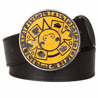 Personality Unique Mens Belt Metal Aztecs Solar Calendar Belt Retro Mayan Calendar Pattern Belt Round Buckle