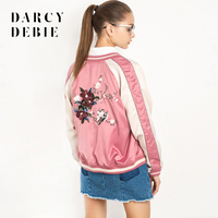 Darcydebie European And American Fashion Floral Embroidery Casual Baseball Jacket With Long Sleeves