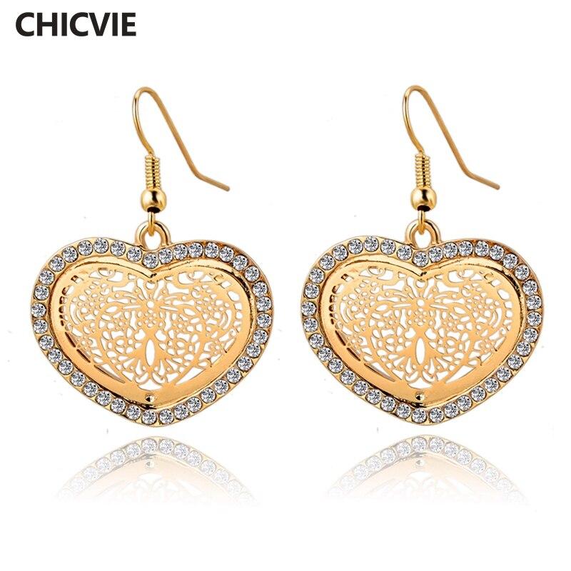 Купить chicvie винтажные золотые серьги в форме сердца камни для женщин