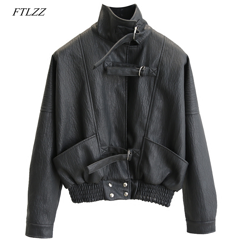 FTLZZ Women Faux   Leather   jacket Batwing Sleeve Loose Biker Coat Casual Autumn PU Outwear Punk Bomber Jackets