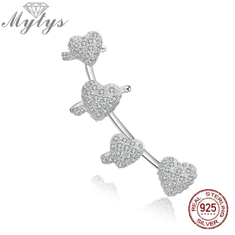 Mytys 925 Sterling Silver High Quality Zircon Heart Trendy One Ear Cuff Clip Earring Jewelry Gift One Piece Removable CE397 one piece trendy rhinestone hollow out heart ear cuff for women