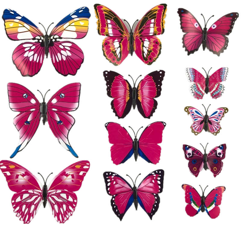 2017 12pcs 3D Wall Stickers PVC Magnet Butterflies DIY Wall Sticker Home Decor Wall Decals Pegatinas Wall Decals Decor
