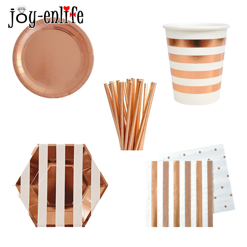 Rose Gold Party Tableware Champagne Plates Cup Straws Birthday Party Decoration Wedding Bride Hen Bachelorette Party Supplies in Disposable Party Tableware from Home Garden