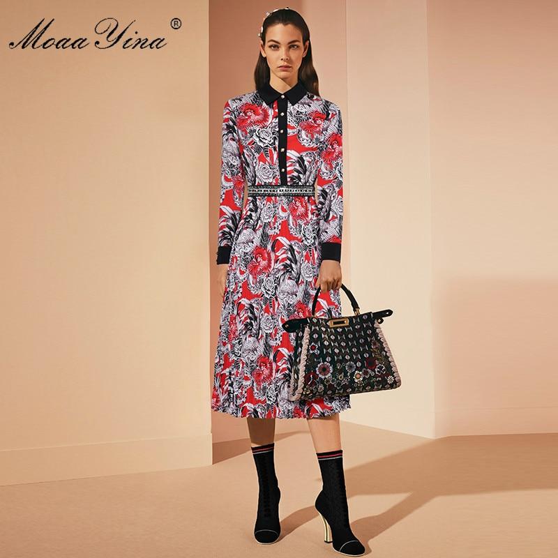 MoaaYina الأزياء مصمم المدرج اللباس الربيع الخريف المرأة كم طويل بدوره إلى أسفل طوق زر من اللؤلؤ خمر الأزهار طباعة اللباس-في فساتين من ملابس نسائية على  مجموعة 3