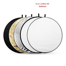 High Quality 5-in-1 110cm 43″ Portable Collapsible Light Round Photography Reflector for Studio Multi Photo Disc