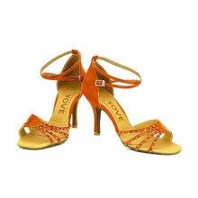 YOVE Dance Shoe Women's Satin Latin/ Salsa Dance Shoe 3.25″ Slim High Heel More Color w125-4