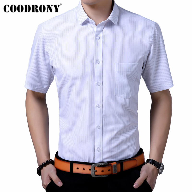 COODRONY Cotton Men Shirt With Pocket Summer Classic Striped Short Sleeve Shirt Men Clothes Social Business Casual Shirts S96069
