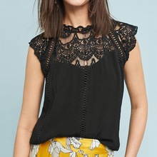 Women Lace White Black Blouses Short Sleeve Lady Chiffon Hollow Out Tee Top Sexy Tops