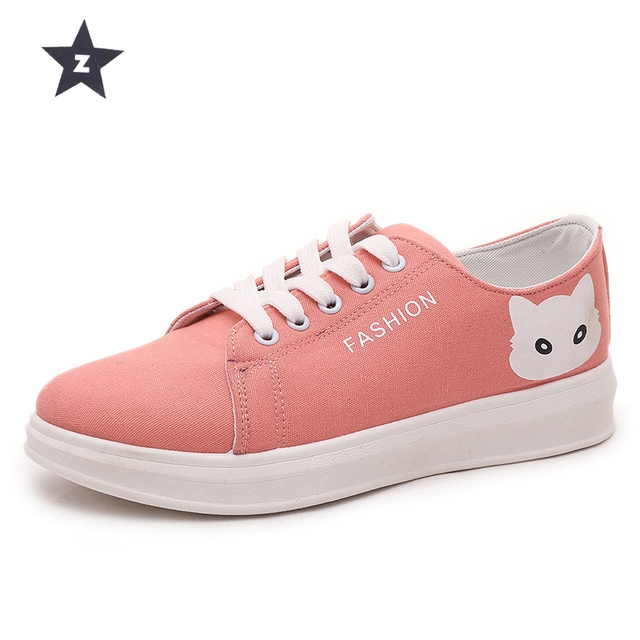 324820416c Z fashion canvas casual shoes women cute cat candy color white black pink  girls shoes breathable