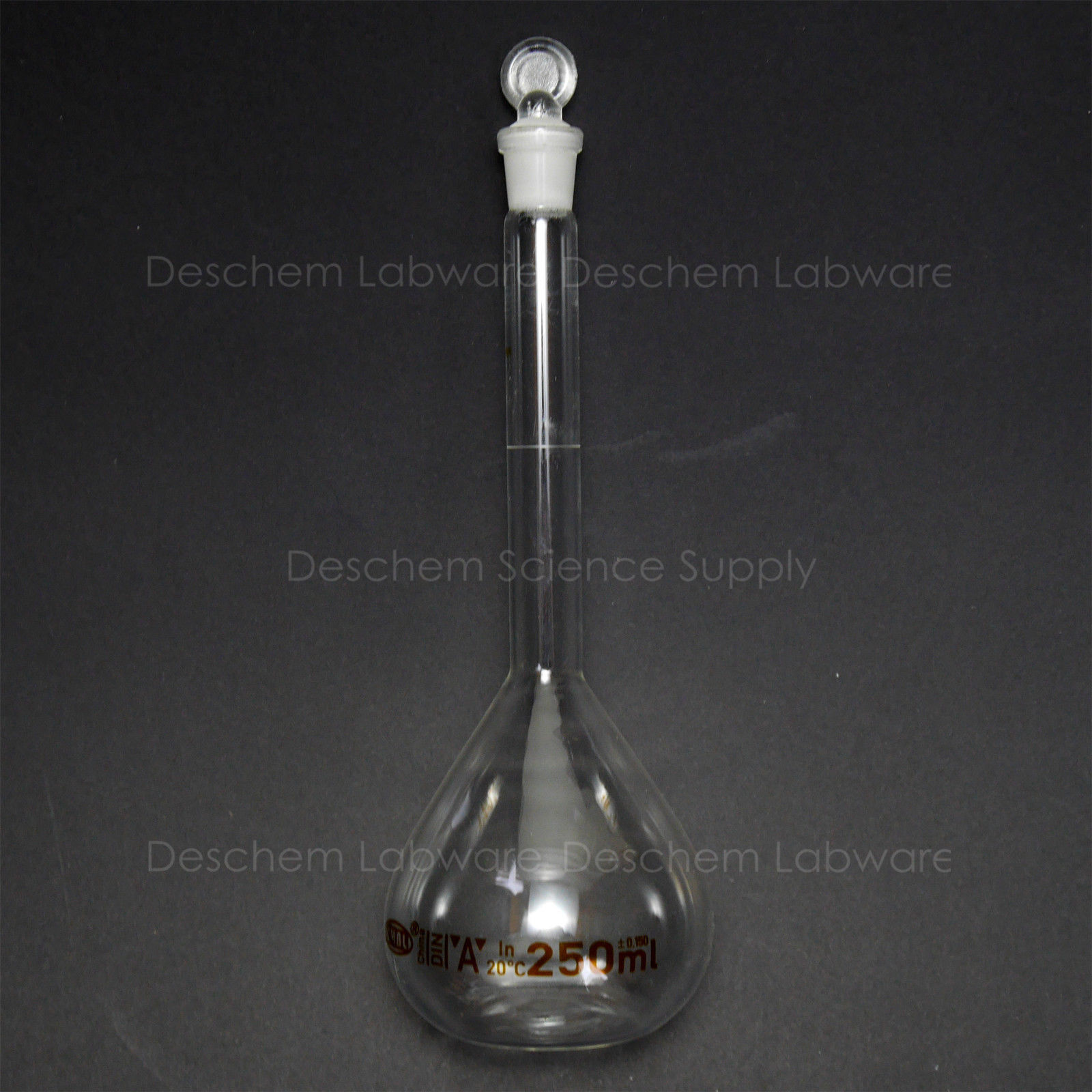 250ml,Lab Glass Volumetric Flask WGlass Stopper,New Chemistry Glassware