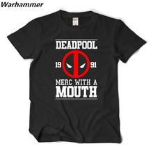 Deadpool T shirt Men Printed Merc With A Mouth Cotton Pattern Tee Shirt Homme School Academic Style 3D Shirt 2XL Casual Fit Tops