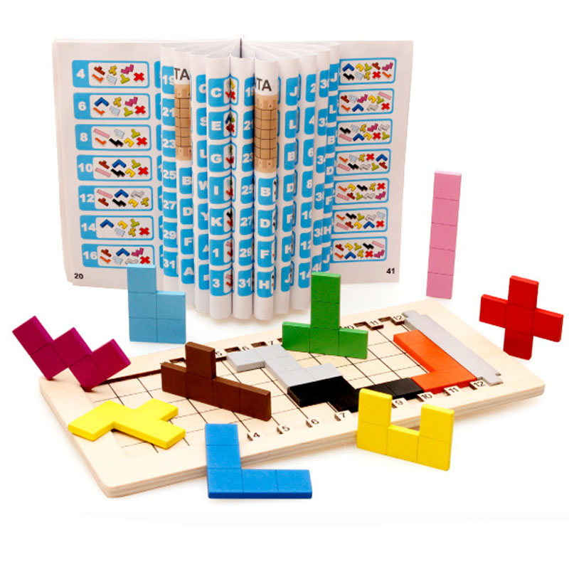 Children Wooden Puzzles Toy Tangram Brain Teaser Puzzle Toys Tetris Game Preschool Magination Educational Kid Jigsaw Booard puzzles