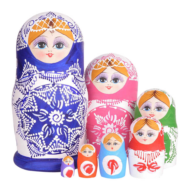 7pcs/Set Wooden Russian Nesting <font><b>Dolls</b></font> Dried Basswood Traditional Authentic Handmade Matryoshka <font><b>Doll</b></font> Kids Gift -17 <font><b>88</b></font> image
