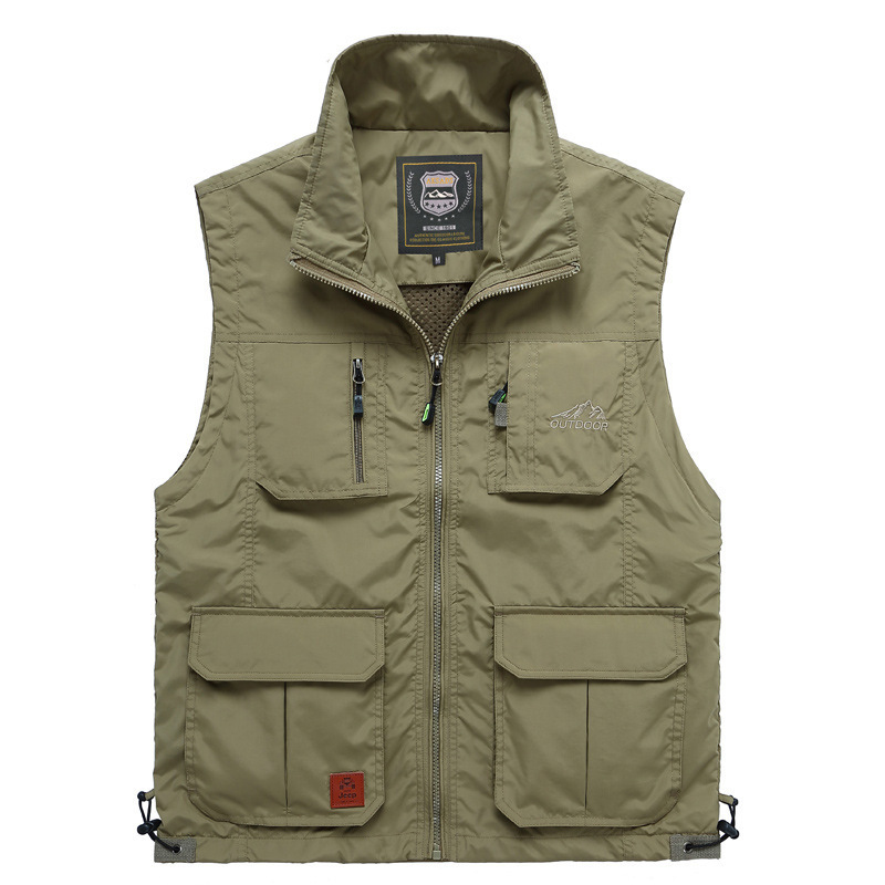 Summer Mesh Thin Multi Pocket Vest For Male Big Size Male Casual 6 Colors Sleeveless Jacket With Many Pockets Reporter Waistcoat