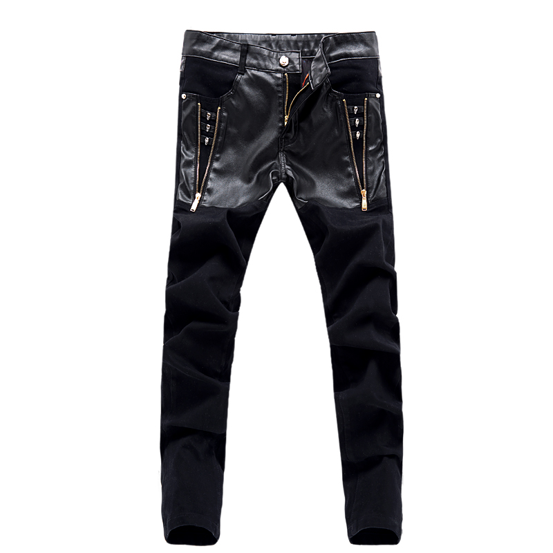 top zipper skull men leather pants skinny motorcycle straight jeans denim casual trousers CCL74