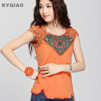 2015 Mexican Style Ethnic Hippie Blouse Summer Spring Autumn Short Sleeve Boho T Shirt Retro Vintage