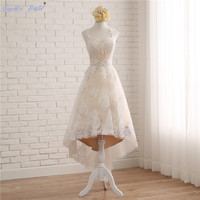 Real photo Custom Made High Low Vestidos De Novia Spaghetti Straps Lace Country Wedding Dresses With Detachable Skirt