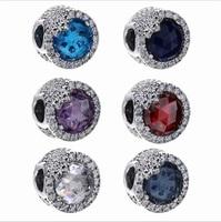 Luxury Fine 100 Real 925 Sterling Silver Blue Dazzling Snowflake Charm Bead Fit Original Pandora Bracelet