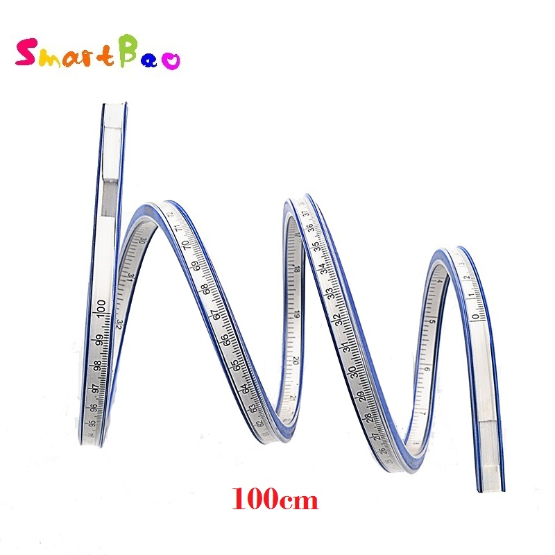 100cm Snake Shaped Ruler Soft Flexible Curve Ruler Flex Curved Ruler Quilting 40 Inch; Double-sided Scale