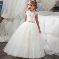 ボールガウンの花の女の子のドレス用ウェディングホワイト初聖体のドレス女の子のレースvestidoロンゴ長い母娘ガウン