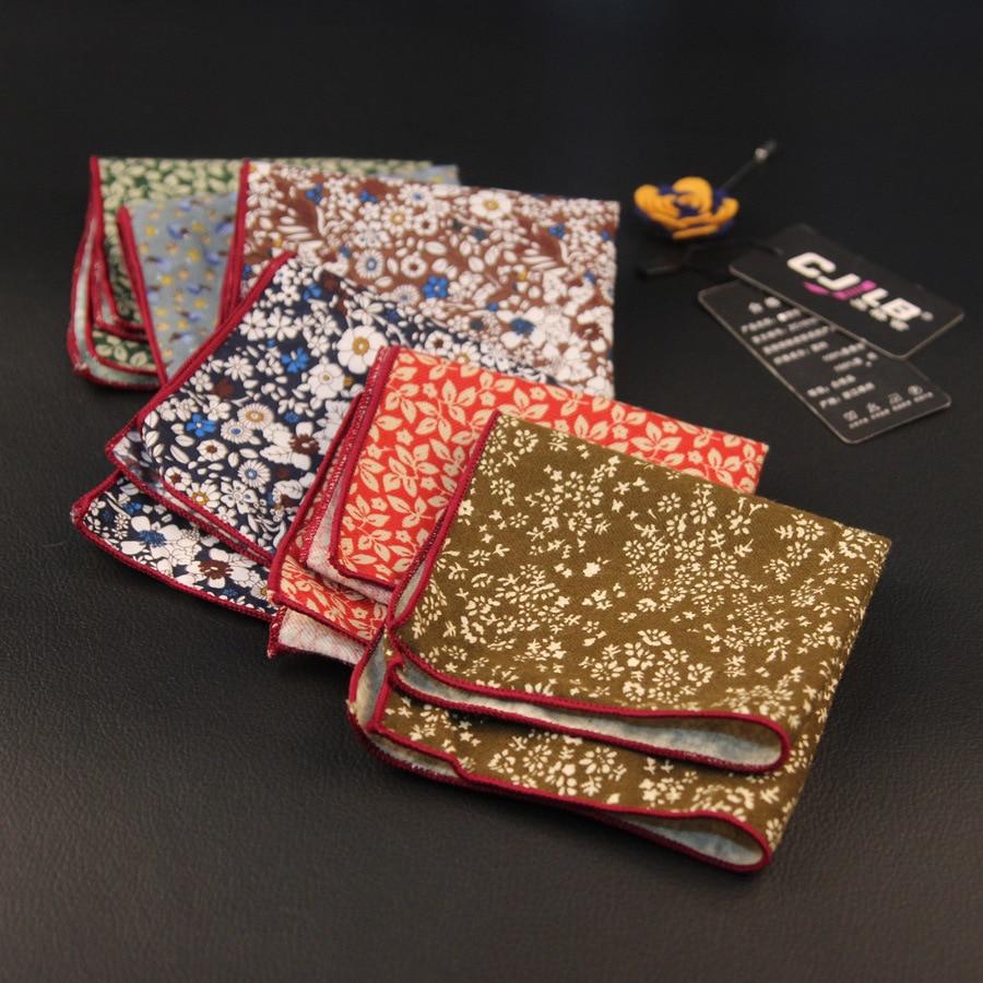 11colors 2017 Vintage Cotton Handkerchief Floral Printed Pocket Square Wedding 23cm*23cm Hankies For Men Pocket Towel 50pcs/lot
