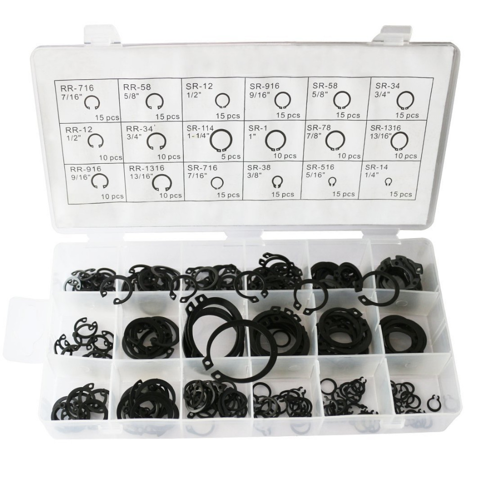 225 pc External Internal Snap Ring Assortment Retaining Hook Ring Clip with Case