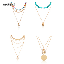 IngeSight.Z Bohemian Multi Layered Beads Choker Necklace Collar Statement Natural Cowrie Shell Pendant Necklace Women Jewelry attractive solid color pendant multi layered women s necklace