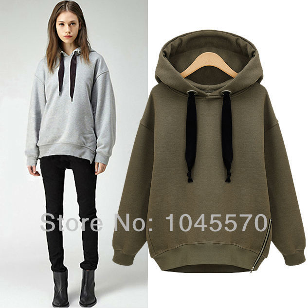 New 2014 Autumn Solid Side Zip Hoodies Sweatshirts Casual Fleece ...