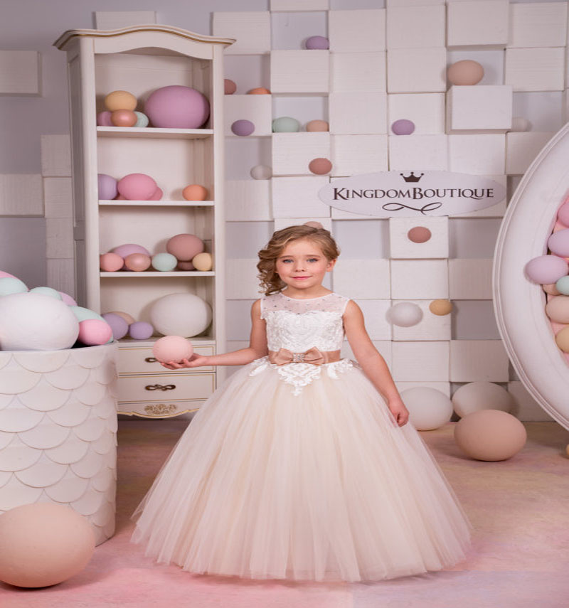 все цены на Ball Gown Flower Girl Dresses for Wedding Tulle Mother Daughter Dresses Lace Girls Dresses for Party and Wedding Baby Girl Dress