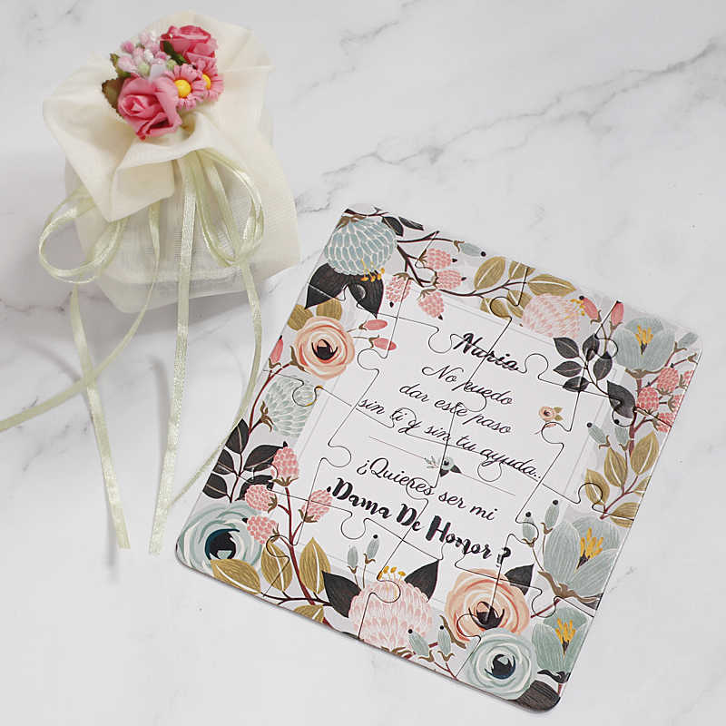 Original Personalized Bridesmaid Groomsman Proposal Puzzle Gift Any Text Language Customized Invitations Card Wedding Decoration