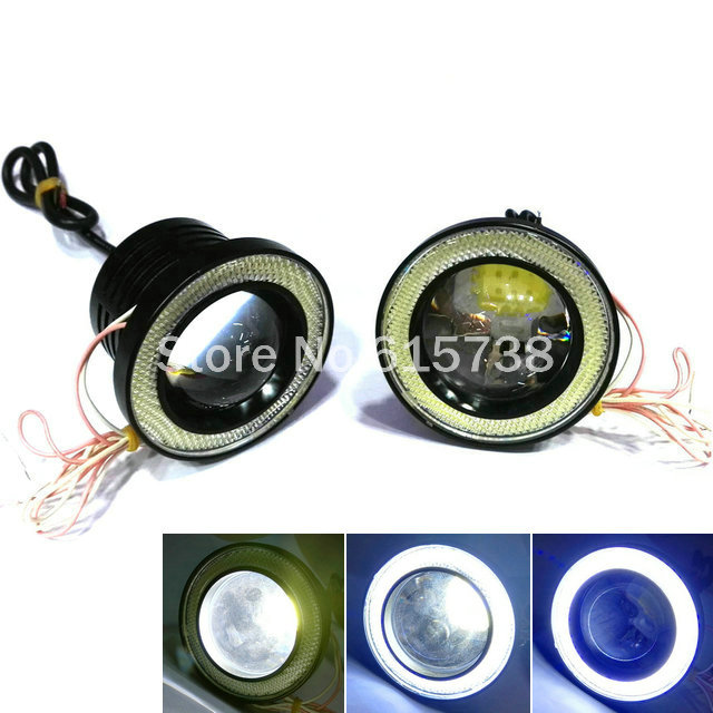 ФОТО 10W X 2 LED COB 3.5 inches 89MM lot LED DRL Daytime Running Light COB Projector Fog Lens Angel Eye Car Styling Free Shipping