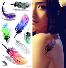 3D Feather Tattoo Tattoos Men And Women Section Waterproof Paper