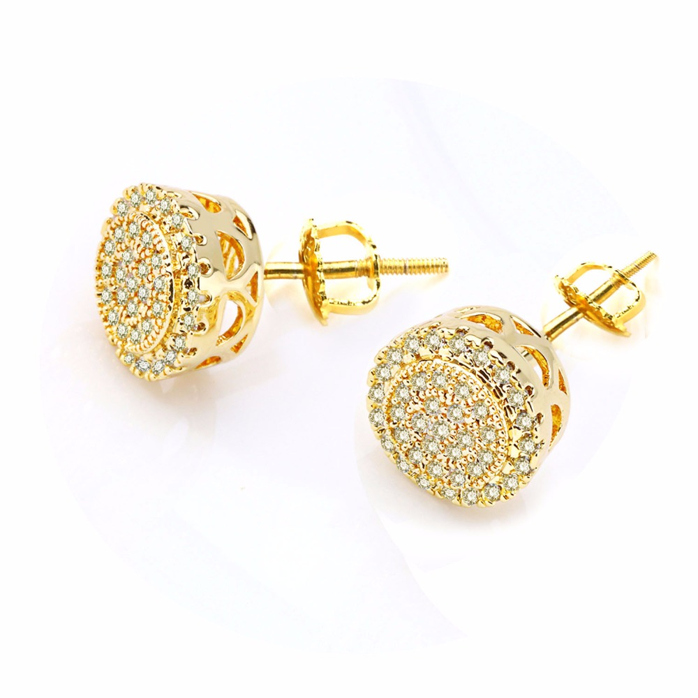 Vanaxin Charms Stud Earrings Gold Black Color Aaa Light Yellow Cubic Zirconia Round Trendy Back Jewelry Box In From