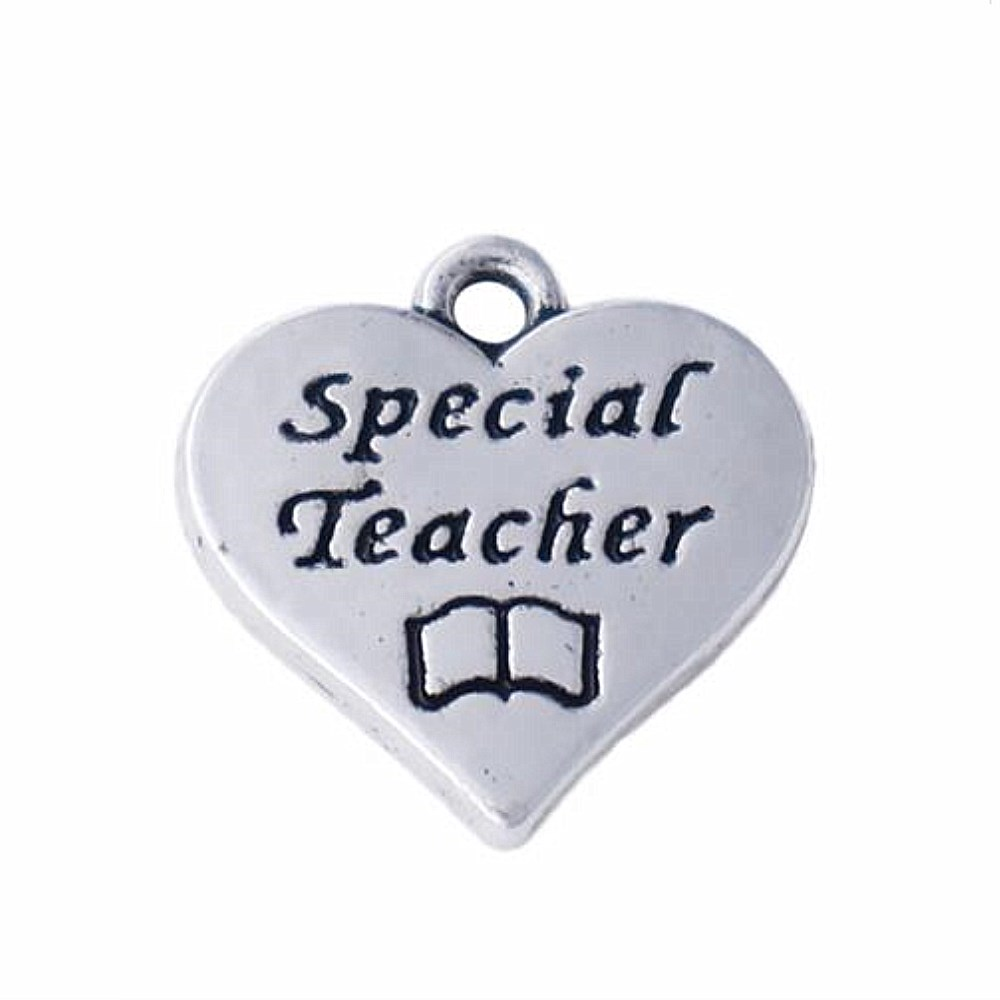 Special Teacher Charm//Pendant Tibetan Antique Silver 15mm  10 Charms Accessory