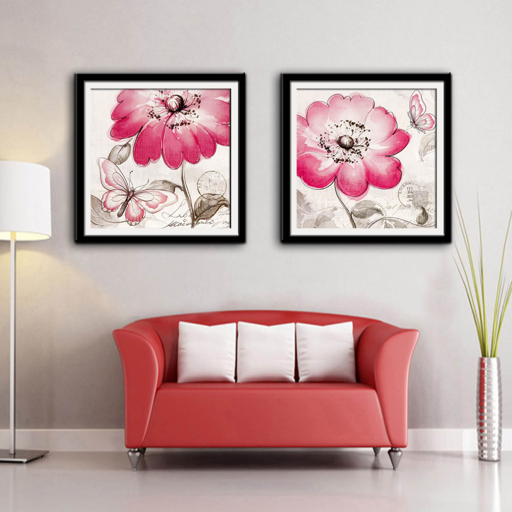 American style Framed Canvas Painting Art Pink Flowers And ...