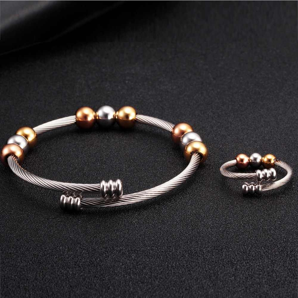 Luxury Brand Chain Link Girls Women Charm Beads Bangles Top Quality Stainless Steel Open Fashion Cuff Female Bracelets