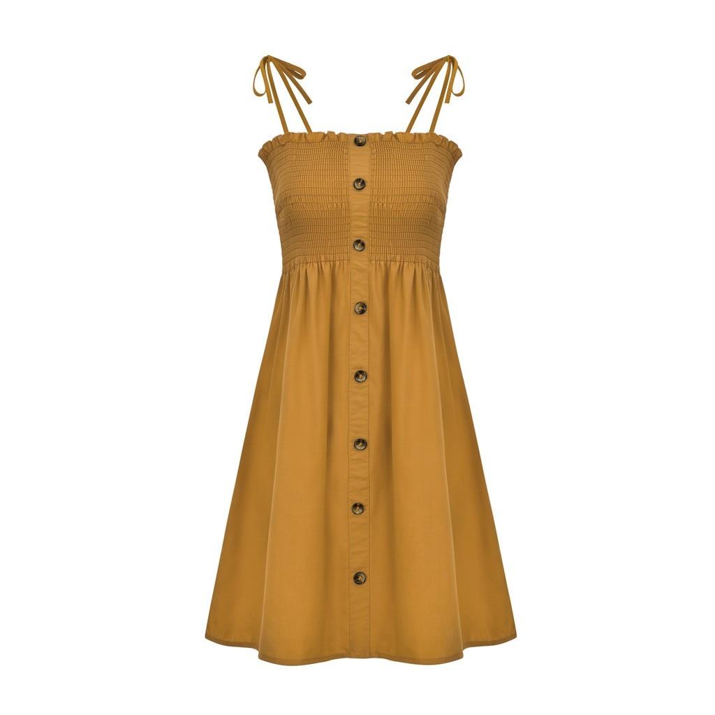 HTB1cu0HaJfvK1RjSspoq6zfNpXae Sexy Womens Dress Fashion Ladies Solid Color Bind Buttons Casual Mini Beach Dress Casual Ladies summer dress vestidos verano NEW